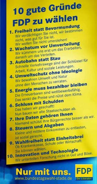 10 gute Gründe die FDP zu wählen