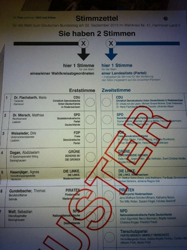 Stimmzettel BTW 2013