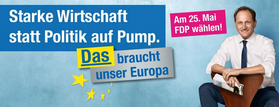 Wahlplakat der FDP zu den Wahlen zum Europäischen Parlament am 25.05.2014