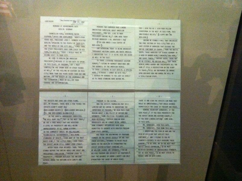 Manuskript der berühmten Berliner Rede vom 12. Juni 1987